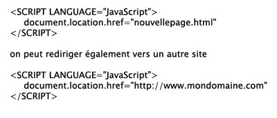 Exemple de redirection JavaScript